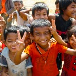 Burmese children in a refugee camp set up across the border from Thailand.